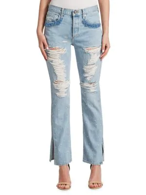 Jonathan Simkhai Distressed Beaded Jeans In Chambray
