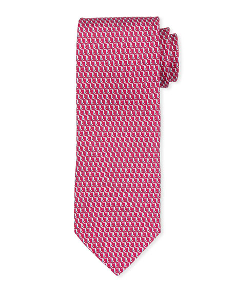Salvatore Ferragamo Elephants Silk Tie In Red