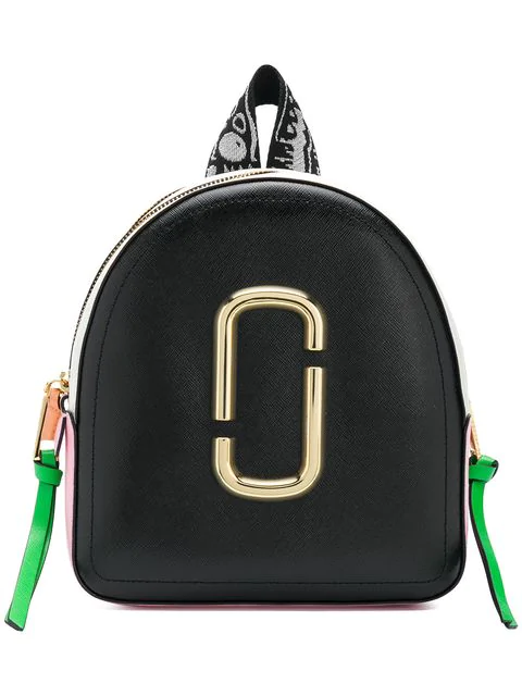 Marc Jacobs Pack Shot Colour-Block Leather Backpack In Black