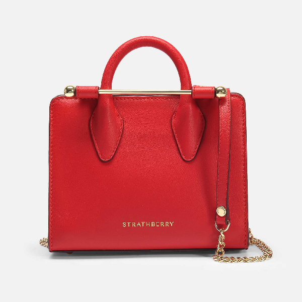 Strathberry Nano Leather Tote In Ruby