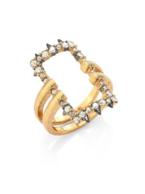 Alexis Bittar Crystal-Encrusted Oversized Link Ring In Gold