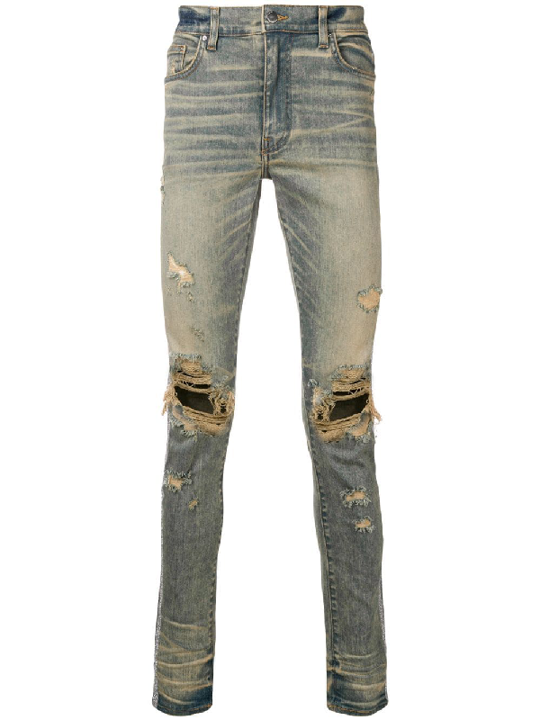 Amiri Distressed Slim Jeans In Blue