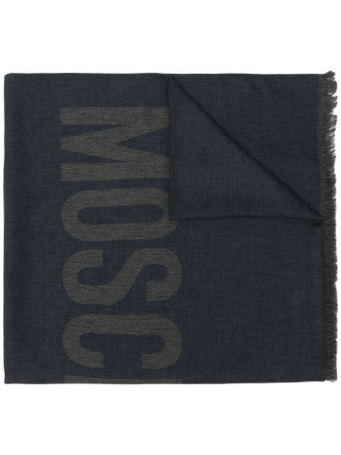 Moschino Logo Scarf In Blue