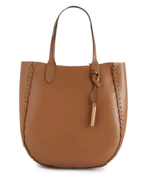 Vince Camuto Rio Braided Trim Tote In Brown