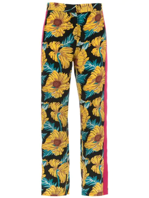 Nk Collection Printed Silk Pants In Multicolour