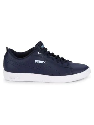 Puma Smash Perforated Leather Sneakers In Blue