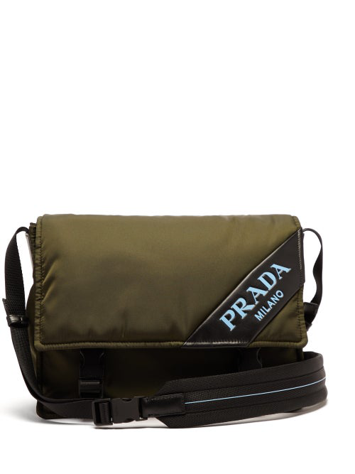 Prada Logo Nylon Messenger Bag In Khaki