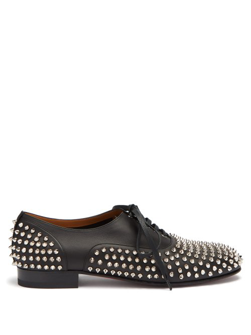 Christian Louboutin Freddy Spike Embellished Leather Oxford Shoes In Black