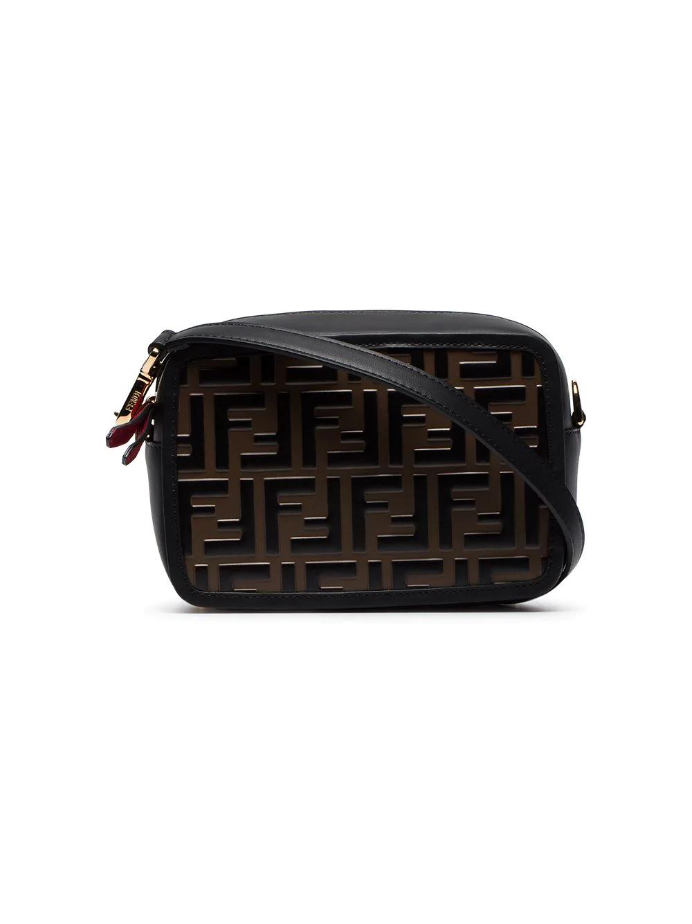 943a483f83f5 Fendi Black And Brown Ff Logo Mini Leather Camera Bag. Farfetch