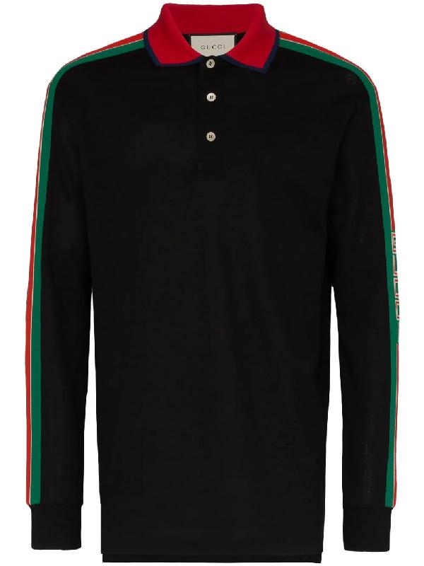 6c613cbcf4e5 Gucci Logo-Stripe Long-Sleeved Cotton-Blend Polo Shirt In Black ...