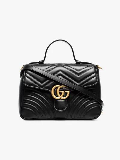 aaed46b2f066ed Gucci Gg Marmont Mini Top Handle Bag In Black   ModeSens