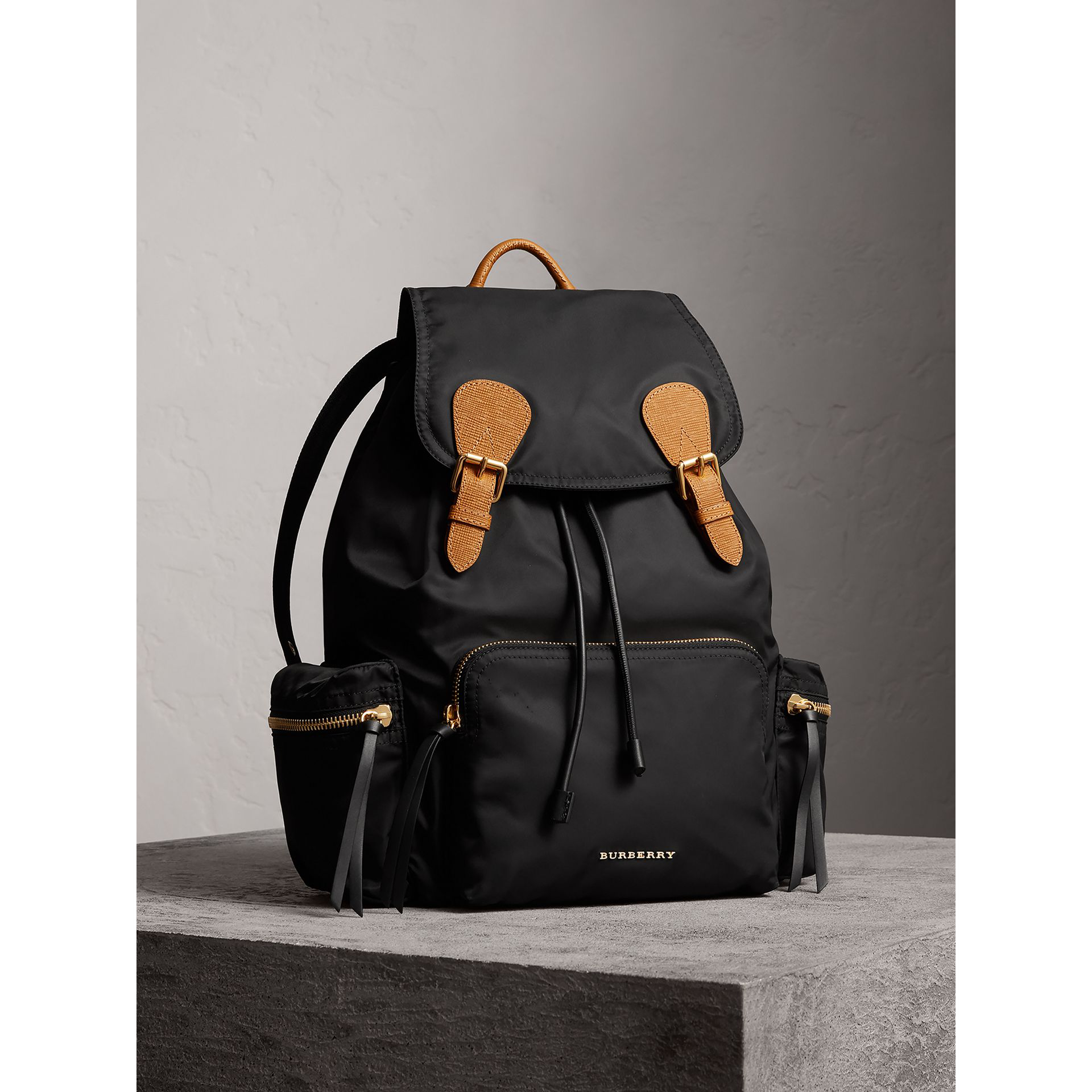 efc3af40ef58 Burberry The Large Rucksack In Technical Nylon And Leather In Black ...