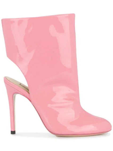 Natasha Zinko Cut-out Ankle Boots In Pink