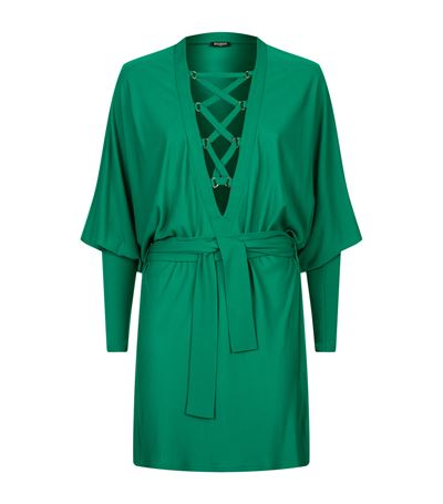 Balmain Woman Lace-up Crepe Mini Dress Green