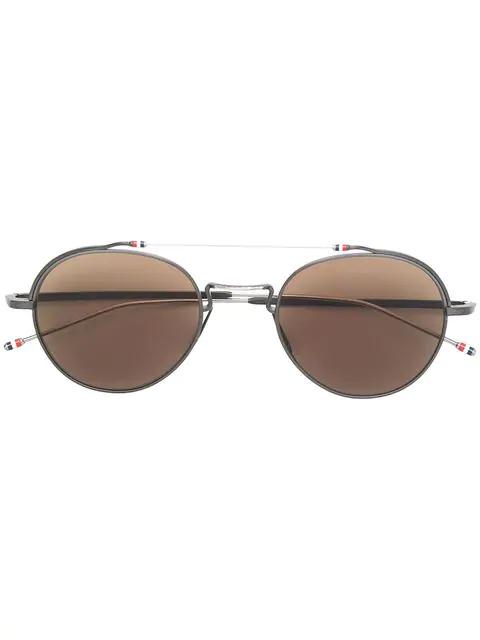 Thom Browne Round-Frame Metal Sunglasses In 03 Blk-Slv