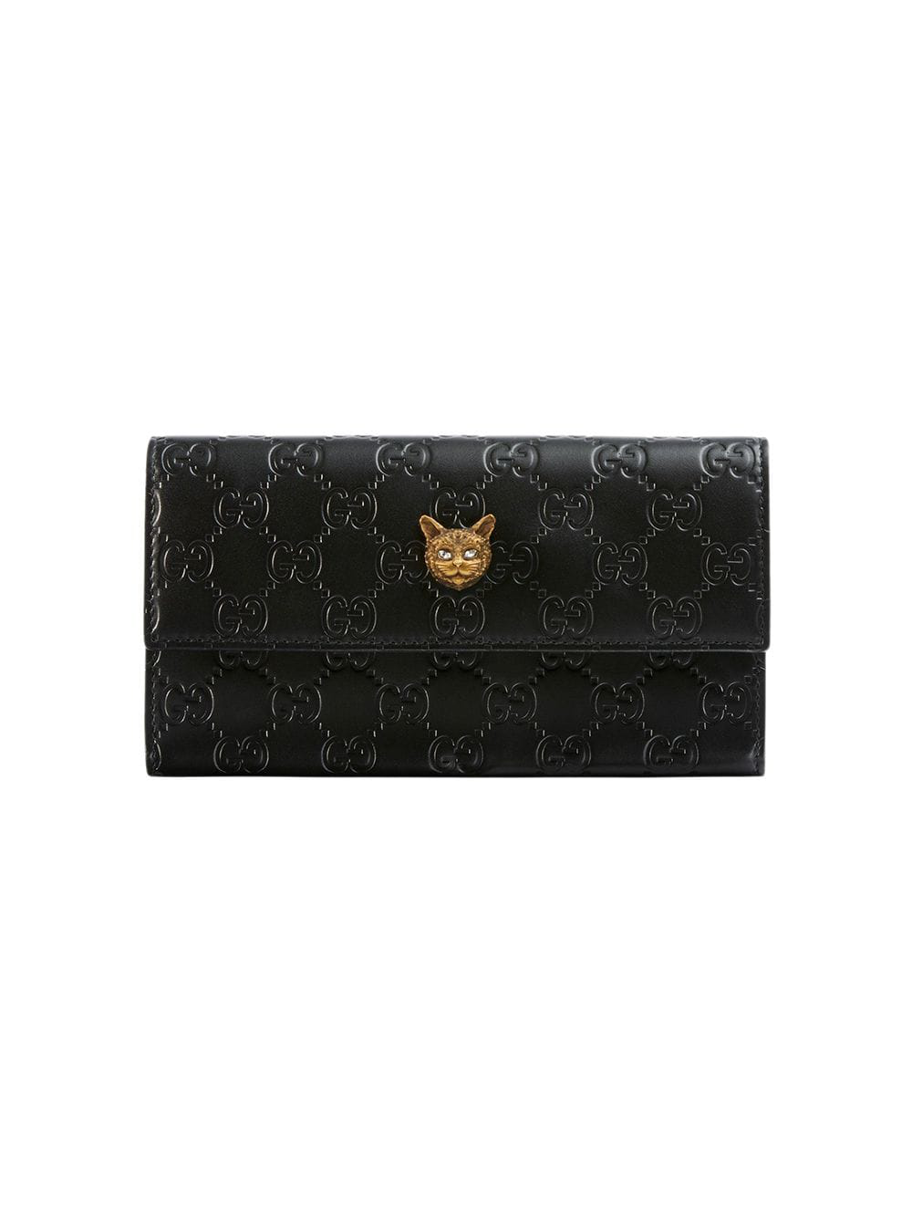 24f23f2431e5 Gucci Signature Continental Wallet With Cat - Black | ModeSens