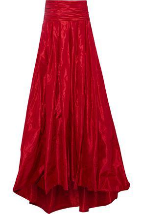 f61844a56e Carolina Herrera Woman Pleated Silk-Taffeta Maxi Skirt Red | ModeSens