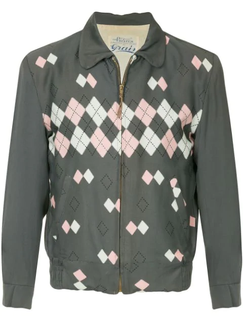 Pre-owned Fake Alpha Vintage 1950's Argyle Jacket In Grey