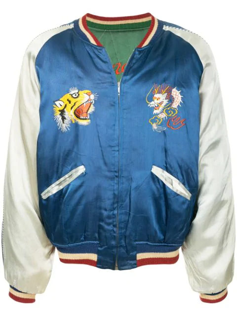 Pre-owned Fake Alpha Vintage 1950's Souvenir Jacket In Blue