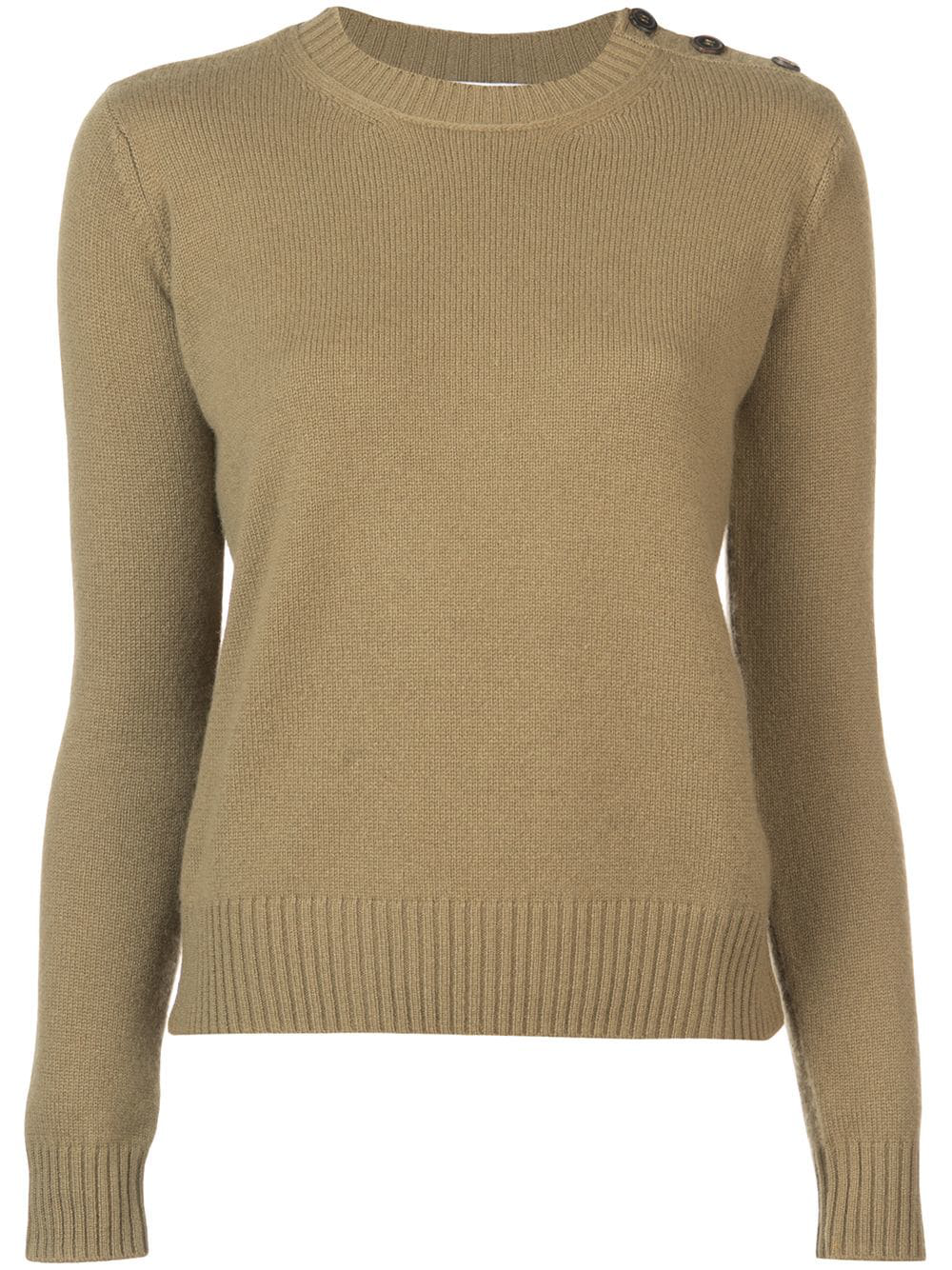 cc7200da5ff2d4 Chocolate brown cashmere buttoned shoulder knitted jumper from Alexandra  Golovanoff featuring a ribbed crew neck