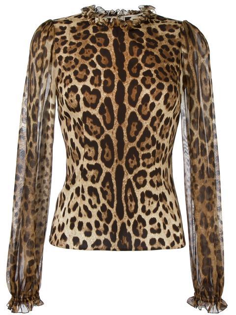 3a4b9c9ac805 Dolce & Gabbana Leopard-Print Sheer-Sleeve Blouse, Brown/Black Leopard