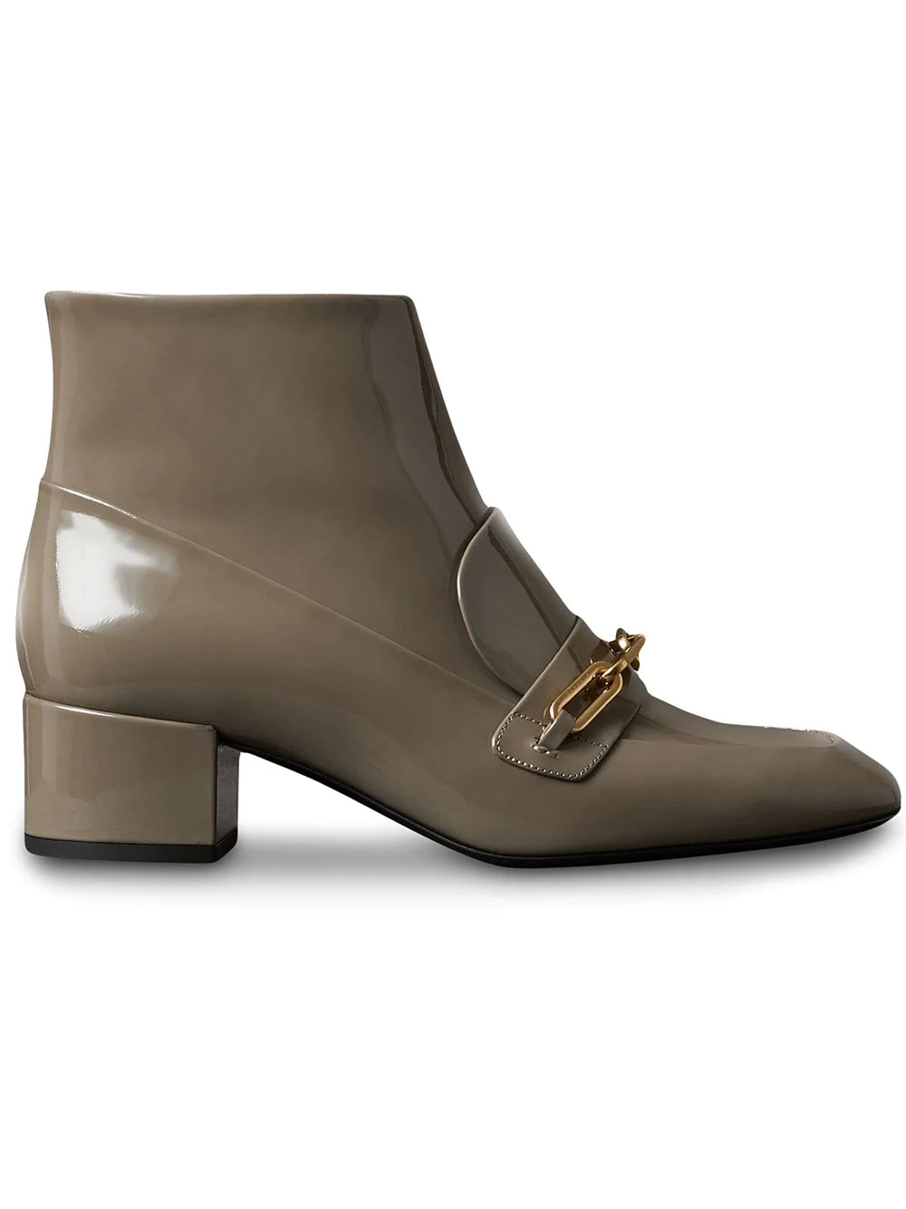 96143d48c89 Burberry Link Detail Patent Leather Ankle Boots - Grey | ModeSens