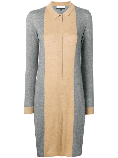 Cashmere In Love Natya Two-tone Sweater Dress In Grey