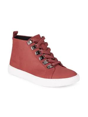 Kenneth Cole Kale Nubuck Leather Hi-top Sneakers In Brick