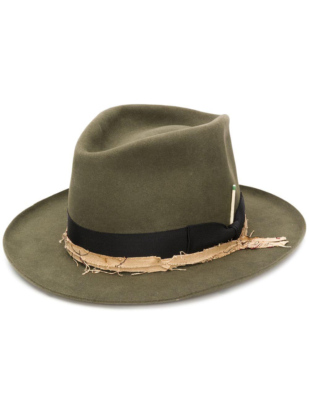 e8be104e69b1c Nick Fouquet Frayed Ribbon Fedora Hat - Green