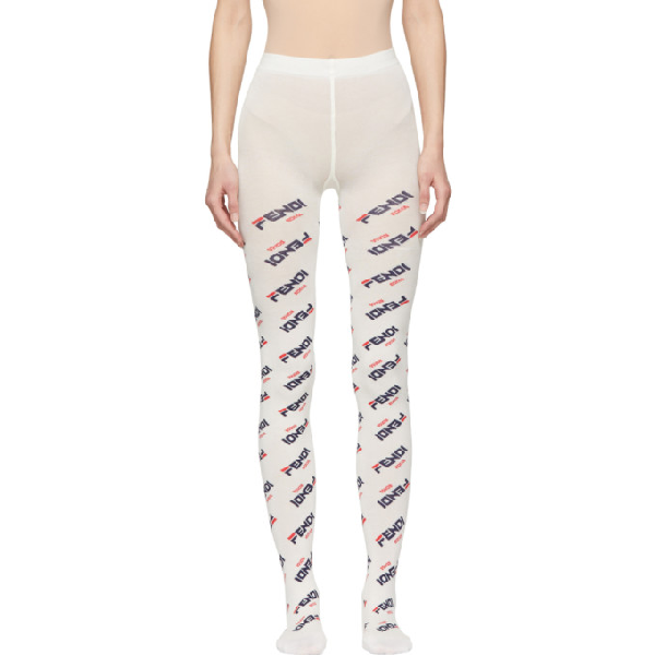 Fendi X Fila Mania Logo Tights In F0qa0 White
