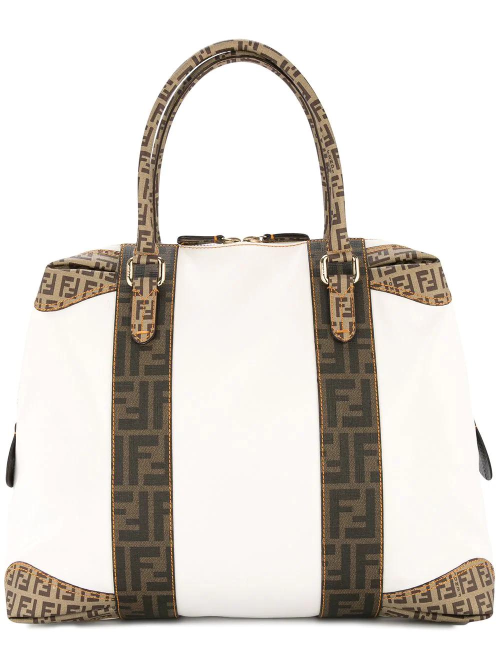 97f8dc3e9e7 Fendi Vintage Zucca Pattern Handbag - White | ModeSens