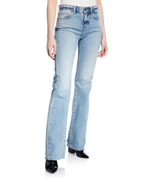 Current Elliott Current/elliott The Jarvis High-rise Flared Jeans In Hartley In Light Denim