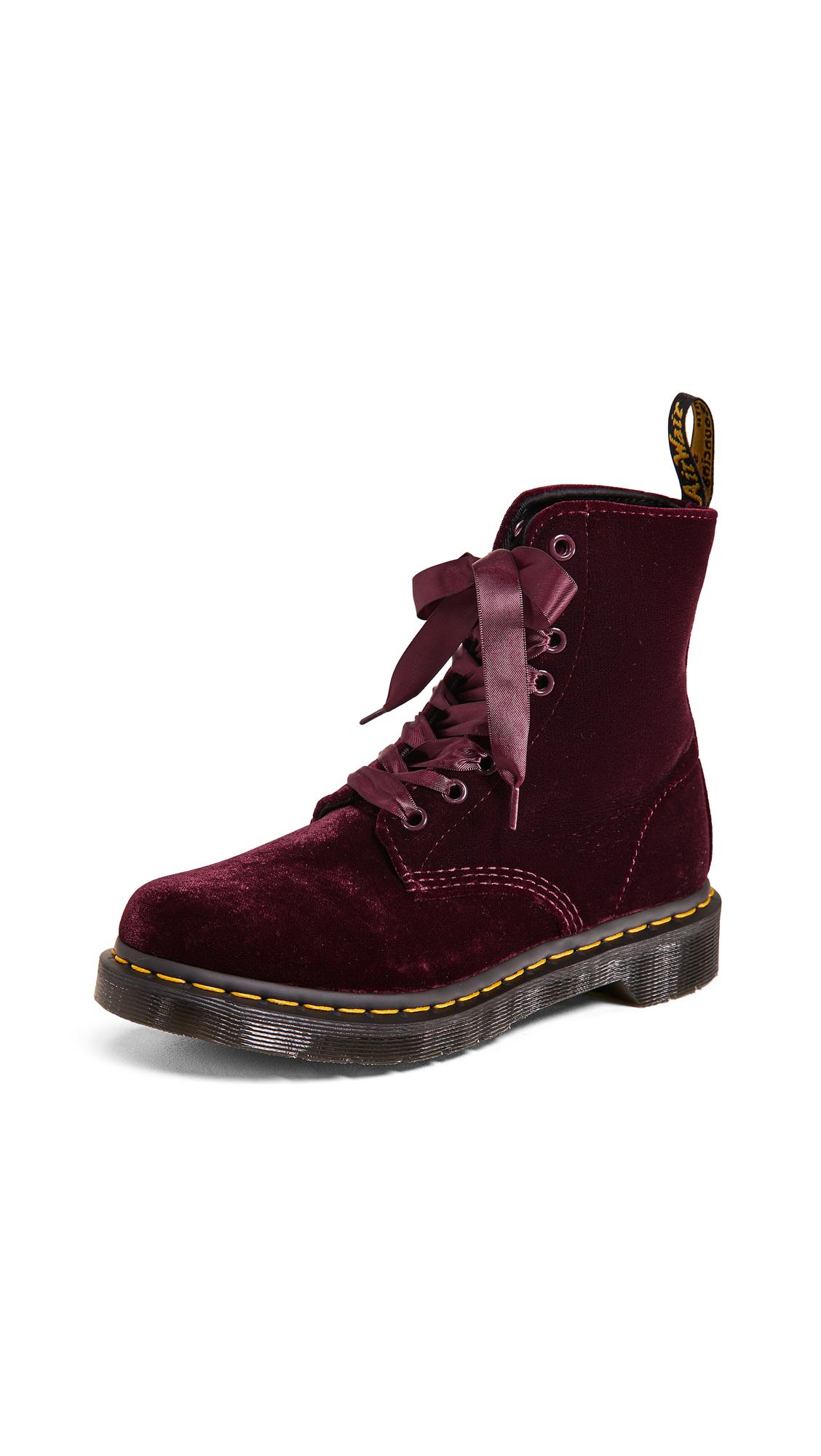 bcf616332 Dr. Martens 1460 Pascal Velvet 8 Eye Boots In Cherry Red   ModeSens