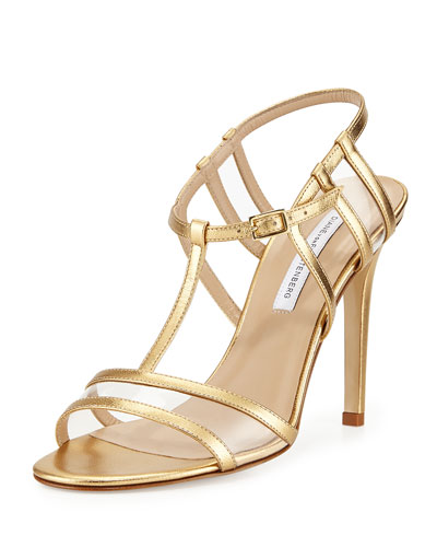 Diane Von Furstenberg Viola Too Metallic Leather T-Strap Sandals In Gold