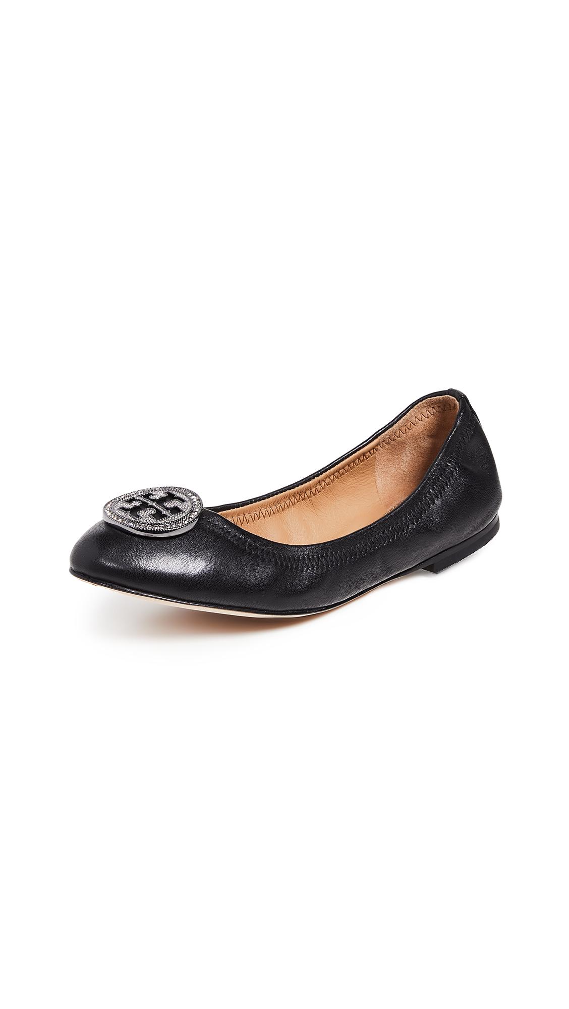 982f451bb88 Tory Burch Liana Ballet Flats In Perfect Black/Gunmetal | ModeSens
