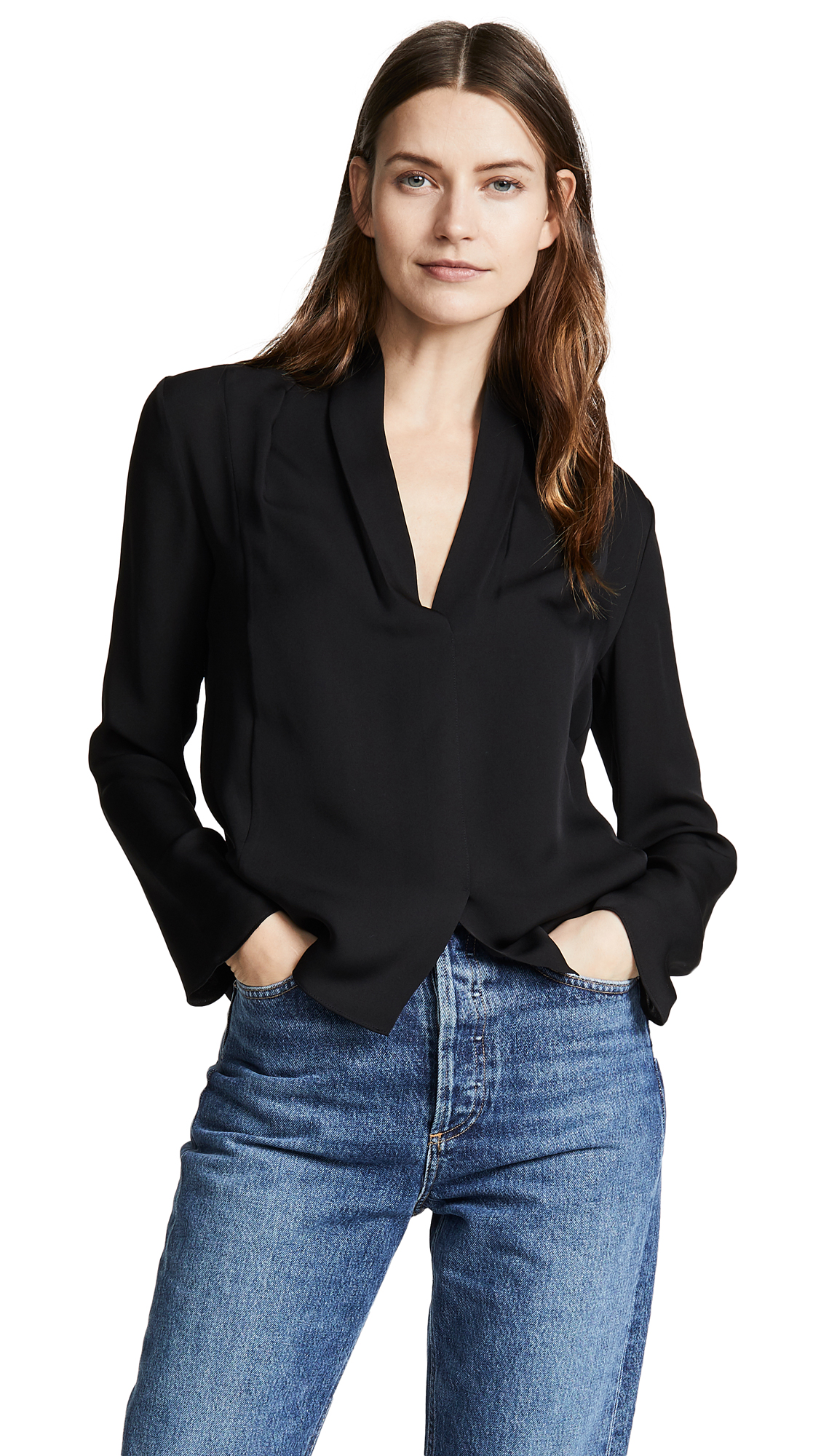 aadb876d016eb7 Vince Silk Drape Neck Blouse In Black | ModeSens