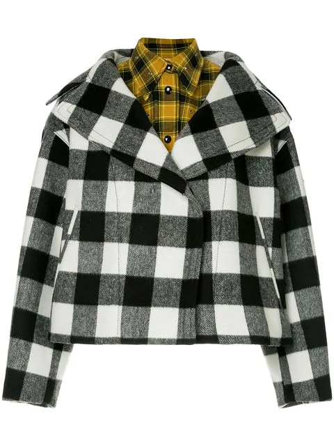 N°21 Oversized Lapel Layered Check Jacket In Multicolour