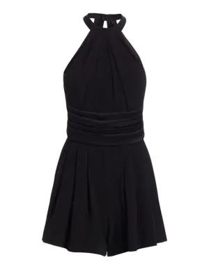 Saint Laurent Backless Jumpsuit With Tuxedo Detailing In Black