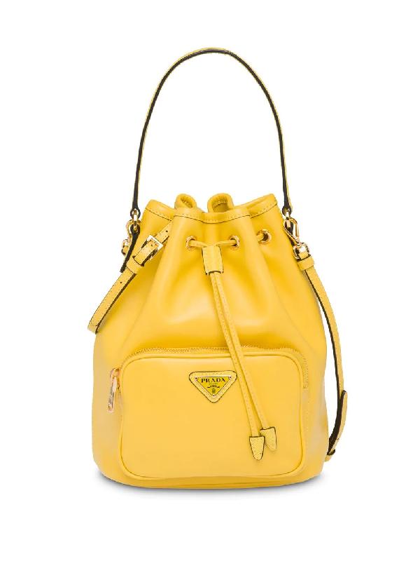 0f5d3e179 Prada Saffiano & City Leather Bucket Bag In F0377 Sunny Yellow ...