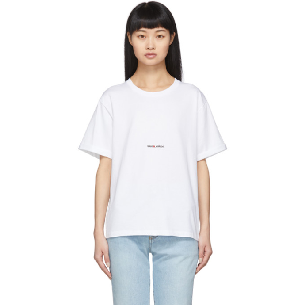 Saint Laurent Loose Logo Print Cotton Jersey T-shirt In 9000 White