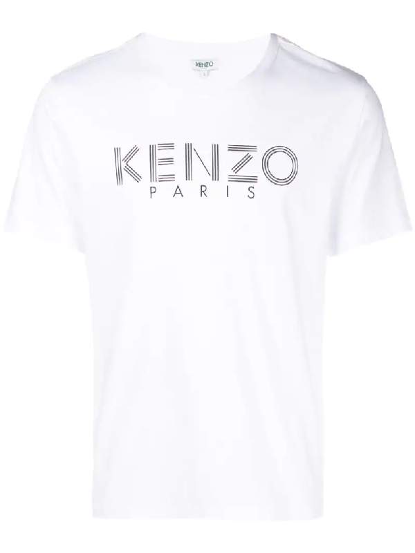 cdade98ff357 Kenzo Logo Printed Cotton Jersey T Shirt In White Modesens