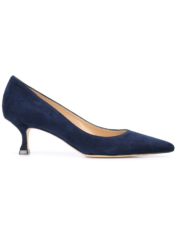 Manolo Blahnik Srila Suede Low-Heel Pump In Navy