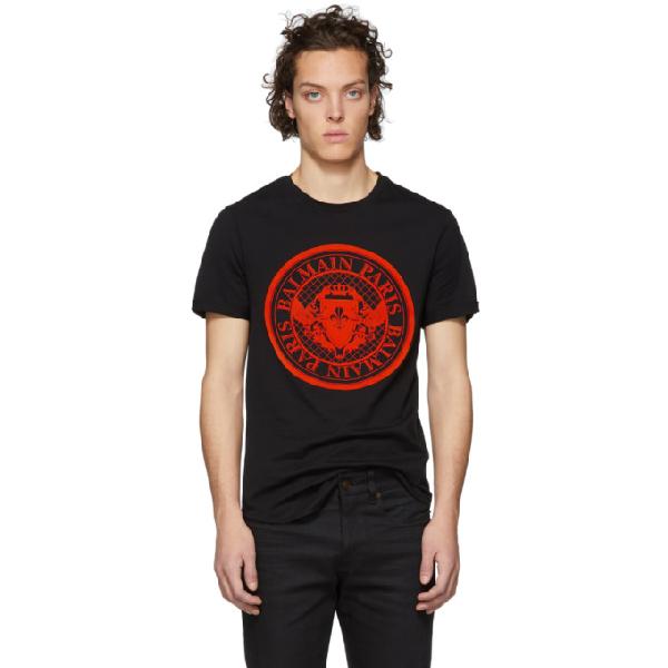 5e9312aa Balmain Flocked Coin Cotton Jersey T-Shirt In Eak Blk/Org | ModeSens