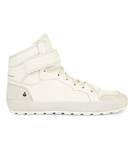 Isabel Marant Bessy Leather And Suede High-Top Trainers In White