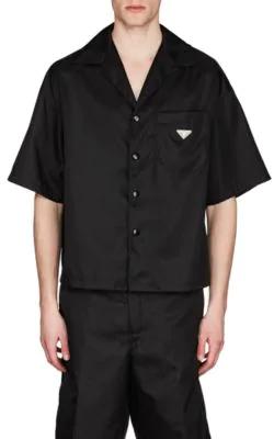 6515ba2627 Nylon Gabardine Bowling Shirt - Black