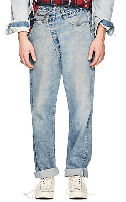 R13 Crossover Distressed Straight Levi'S® Jeans In Blue