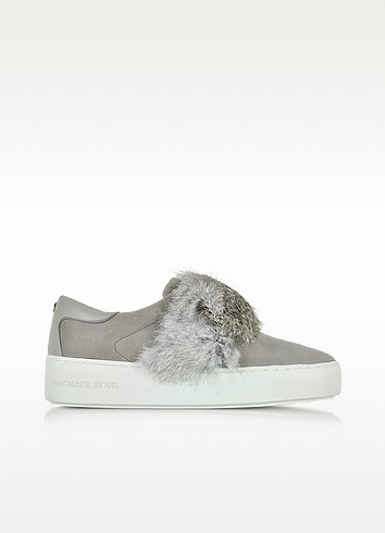 297cc9556fe Michael Kors Maven Pearl Grey Rabbit Fur And Suede Sneaker In Gray ...