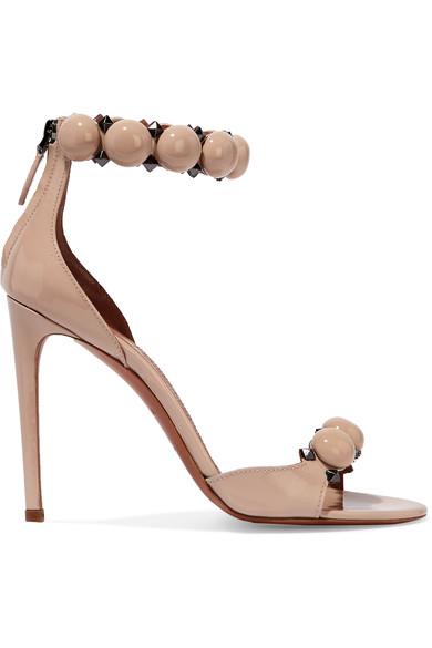 AlaÏA Studded Patent-Leather Sandals