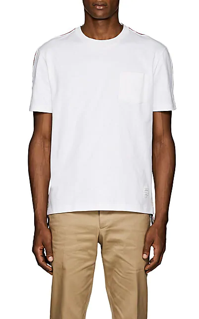 Thom Browne Striped Cotton T-Shirt In White