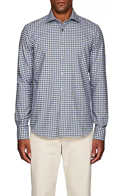 Fioroni Checked Cotton Flannel Shirt In Blue Pat.